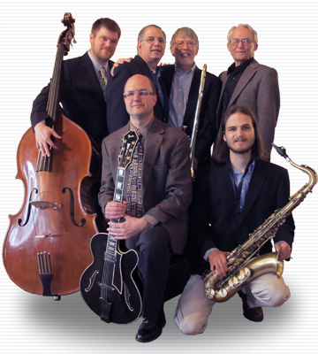 Pine Street Jazz is Dan Skea, Brian McCarthy, Nick Aloi, Justin Rose, George Voland, and Carl Severance